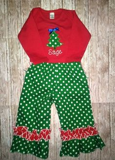 Christmas tree ruffle pant outfit