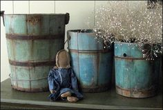 Primitive Blue Buckets