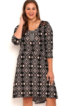 Deb Shops Plus Size Navajo Print High Low Skater Dress with Lace Back $20.00
