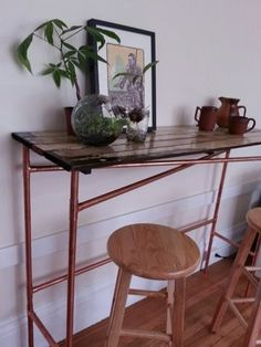 I needed a table in my oddly shaped kitchen that could act as additional counter space, a place to eat, store kitchen stools and general spot to put s...
