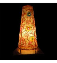 41 best hand painted indian lampshades images on pinterest bright hand painted multicolored table lamp aloadofball Image collections