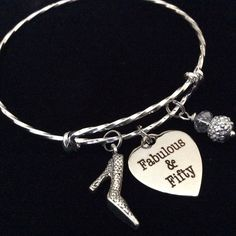Fabulous and Fifty Expandable Charm Bracelet Adjustable Wire Bangle ^^ You can get additional details, click the image : Handmade Gifts