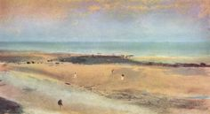 Edgar Germain Hilaire Degas.  Strand bei Ebbe. Um 1869-1870, Pastell, 18 × 31 cm. London, Privatsammlung. Landschaftsmalerei. Frankreich. Impressionismus.  KO 01323