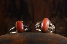 Late 1800s Victorian Coral Ring, 10K Gold (sold)  Early 1900s Arts & Crafts Coral Ring, 10K Gold