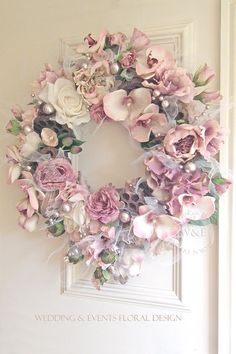 www.weddingandevents.co.uk Faux Flowers, Silk Flowers, Decoration Shabby, Shabby Chic Crafts, Victorian Decor, Wreath Crafts, Pink Christmas, Easter Wreaths, Summer Wreath