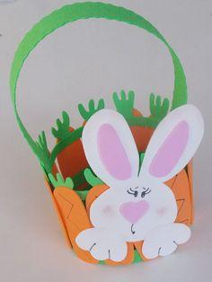 Cesta para ovo de Páscoa com cenouras em eva - Passo a passo