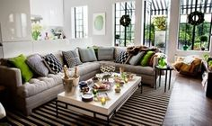 Inside a Top Designer's Chic Holiday Cocktail Party I love how the rug and the awning bring the space together! Small Living, Home And Living, Living Rooms, Living Spaces, Room Setup, Love Home, Creative Decor, First Home, Great Rooms