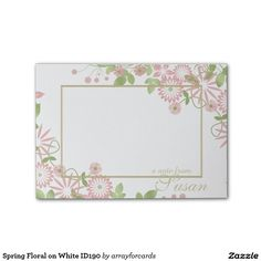 Spring Floral on White ID190 Post-it® Notes #Post-it #custom #floral #elegant #zazzle