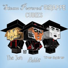 "Steam Powered Giraffe Cubees by ~SilverDrgnbane on deviantART - free template at the link! (And if you don't know who Steam Powered Giraffe is, look up ""Clockwork Vaudeville"" on Youtube. You'll love it.)"