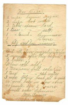 War Cake a very vintage recipe