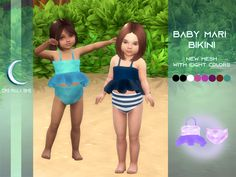 Sims 4 Toddler Clothes, Sims 4 Cc Kids Clothing, Sims 4 Mods Clothes, Toddler Outfits, Kids Outfits, Mods Sims 4, Sims 2, Sims 4 Cas, Baby Bikini