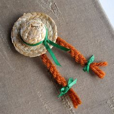 Love the book! This pin is so CUTE! Anne of Green Gables Straw Hat Skimmer with Red Braids and Green Bows Brooch Pin