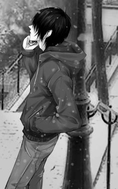 Black and White Anime Boy on the phone :3