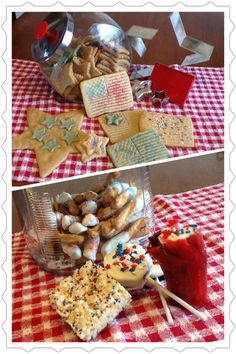 Independence Day Treats - for 4th of July tomorrow we made sugar cookies with flag & star cutters and patriotic colored sprinkles. Pretzels dipped in white almond bark with sprinkles, Rice Krispie treats with sprinkles, Fire Crackers- fruit roll-up wrapped around a swiss cake roll, add almond bark sprinkles and a fuse at the top, and Patriotic Pops - pull apart an oreo, insert a sucker stick by using almond bark to cement it in between the two layers, dip in almond bark, add sprinkles.