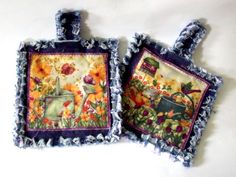 Rag Quilted Recycled Jeans Potholders Set of Two  Decorative for Home. $14.99, via Etsy.
