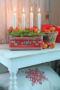 Love both the tin for candles and the flower pot as a fruit bowl