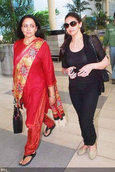 Hema Malini with daughter Esha Deol at Mumbai airport.