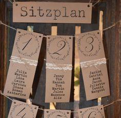 Hochzeitsdeko - Tischplan Tischordnung Hochzeit Vintagehochzeit - ein Designerstück von majalino bei DaWanda