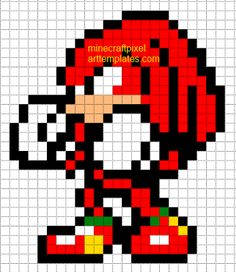 Minecraft Pixel Art Templates: Knuckles the Echidna (sonic)