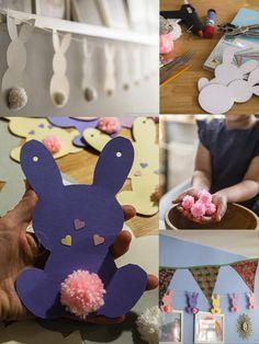 Mit Kindern an Ostern basteln: eine Girlande aus Tonpapier und Pompons! Schritt für Schritt Anleitung auf dem Blog. Kids Rugs, Blog, Home Decor, Pom Poms, Newborn Photos, Garlands, Bunny, Easter Activities, Tutorials