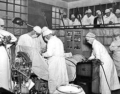 Students observing surgery, Swedish Hospital, Seattle, 1937