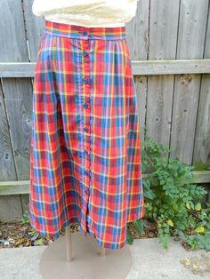 Plaid Midi Skirt / Vintage Red, Green, Purple and Yellow Skirt / Haberdashery XL Vintage Skirt by VintageBaublesnBits on Etsy