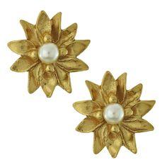 Vintage Yves Saint Laurent Pearl Flower Earrings