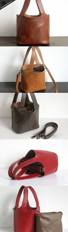 Handmade Leather Small tote bag shopper bag busket for women leather shoulder bag http://feedproxy.google.com/fashiongobags