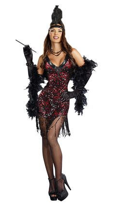 If you feel like taking a trip to the Roarin' 20s, then this Women's Dames Like Us Flapper Costume is just the ticket. The sexy outfit puts the retro twist back into any theme.