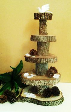 5 Tier -  RUSTIC WEDDING Oak tree trunk  Cake Stand , Cupcake stand, Display stand. $200.00, via Etsy.