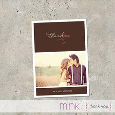 """wedding thank you card - """"Thank You"""". $64.00, via Etsy."""
