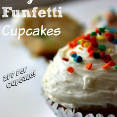 Weight Watchers Funfetti Cupcakes Recipe Desserts with cake mix, Sprite Zero, fat free whipped topping, instant pudding & pie filling