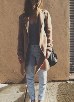 camel coat + denim