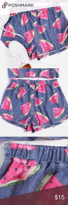 🆕Watermelon shorts w/ elastic waste🍉🆕 Elastic waste comfy and cute shorts. Matching top available in my closet!! Bundle for a discount!! 🛍🍉🛍 Shorts