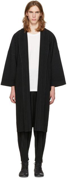 Homme Plissé Issey Miyake: Black Long Kimono Coat | SSENSE