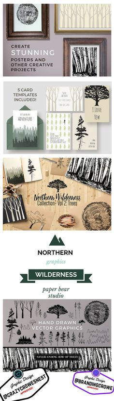Awesome Graphics! Northern Wilderness Theme. 5 Card Templates, Hand drawn trees…