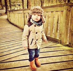 Jakey has this hat and I love it! lol Toddler boy fashion, fur hat, coat