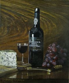 Derek Shapiro. Port,Grapes and Stilton Cheese // Still Life oil painting of a bottle of port with grapes and Blue Stilton cheese set on a Victorian Sideboard