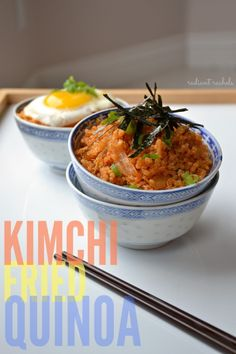 Kimchi Fried Quinoa - a spicy, customizable vegan & gluten free meal that'll be ready in just 15 minutes! Great way to use up leftover quinoa too!