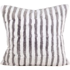 Marc Jacobs Light Grey Striped Rabbit Fur Pillow (43.115 CZK) ❤ liked on Polyvore featuring home, home decor, throw pillows, stripe throw pillows, plush throw pillows, striped throw pillows, marc jacobs and striped accent pillows