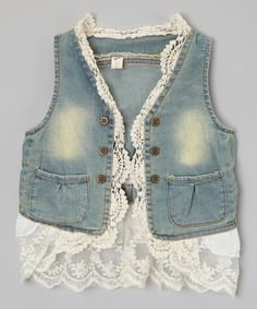 Look at this Kid Swag Blue Denim Lace Vest - Toddler & Girls on #zulily today!