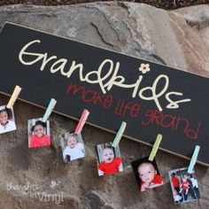 For Mamaw's Birthday in March! Grandkids Picture Board - Grandparents Day. This would be good for my dad that lives the RV life. He can keep all 10 grands with him without cluttering up his space. @ Shannon Leisure by nora