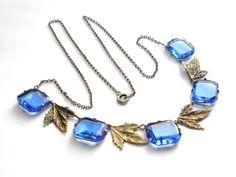 Art Deco blue glass necklace circa 1930