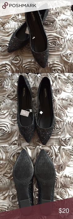 MERONA Flats New Merona Womens Black Ballet Flat Glitter Dress Casual Shoes Pointed Toe Shoes Flats & Loafers