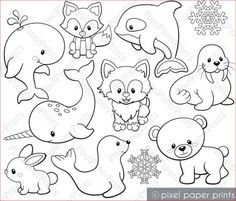 Variety of Land & Sea Animals Digital Stamps