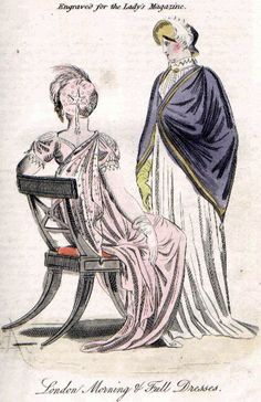 Lady's Magazine, Jan. 1810 1. SHORT train dress, pink crape over white satin slip; short sleeves, antique lace trim, silver clasps. Silver gauze drapery, clasp on 1 shoulder, passes under left arm. Pink crape cap, silver spotted, w/shaded pink & white feather & paradise plume. White satin shoes w/silver rosettes. 2. India muslin morning dress, lace collar; 3-cornered purple mantle, lined w/white sarcenet, gold lacing trim. Purple velvet bonnet, w/shaded feather. York tan gloves, purple boots.