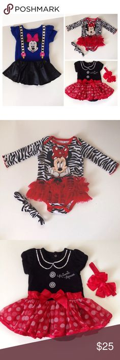 Minnie Mouse Outfits 0-6 Months All Outfits are in Good Condition.                                                                Red tutu Minnie Mouse dress 0-6 months. (Show some use wear in the sleeves). Black and red Minnie Mouse dress 6 months (head piece NOT included). Blue and black Minnie Mouse (two pieces set 0-3 months).                               Selling as a bundle.✨ Disney Dresses Casual