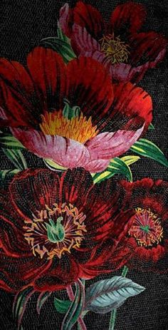 Red Poppy Mosaic Panel.