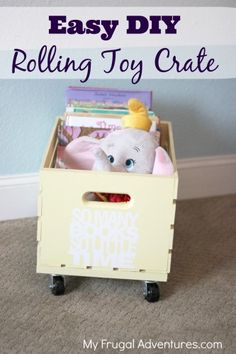 easy DIY rolling toy or book crate {toy storage idea} via My Frugal Adventures -- such a simple storage solution for heavy books, office files, toys and Creative Toy Storage, Diy Toy Storage, Storage Ideas, Pantry Storage, Crate Storage, Table Storage, Do It Yourself Home, Diy Toys, Diy Projects To Try