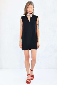 Cooperative Scalloped Cap Sleeves V-Neck Dress - Urban Outfitters